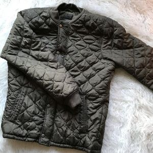 ABERCROMBIE & FITCH GREEN QUILTED BOMBER JACKET